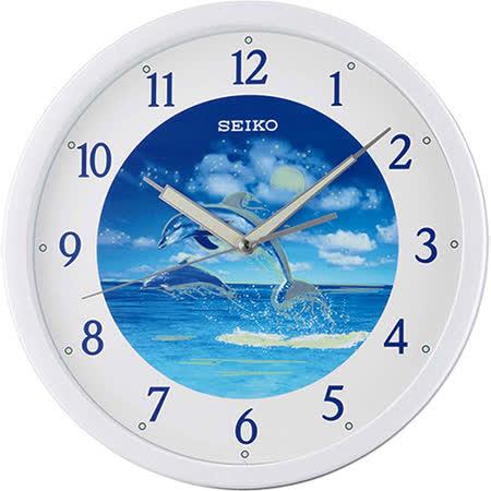SEIKO精工 海豚戀人夜光靜音掛鐘-藍X白色框/31.1cm QXA595W