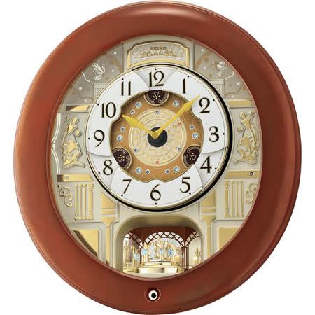 SEIKO精工 施華洛世奇水鑽音樂掛鐘-咖啡色框/43cm QXM360B