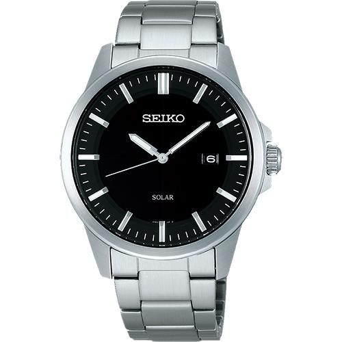 SEIKO SPIRIT 極簡太陽能腕錶~黑x銀39mm V147~0AV0D^(SBPN