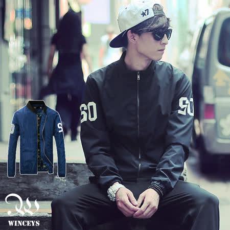 WINCEYS 男士超酷字母印花防風外套夾克-深藍