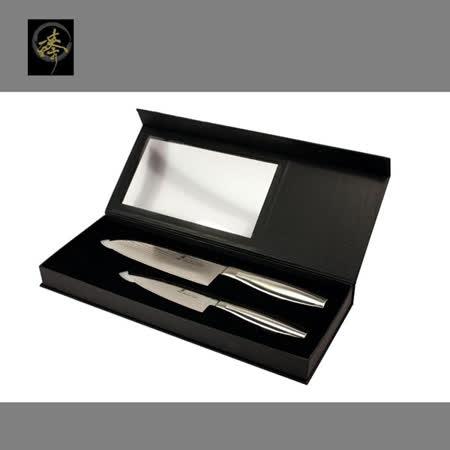 料理刀具 大馬士革鋼系列-萬用廚師刀組(不鏽鋼柄) -DC92-2M SET / 臻 高級廚具