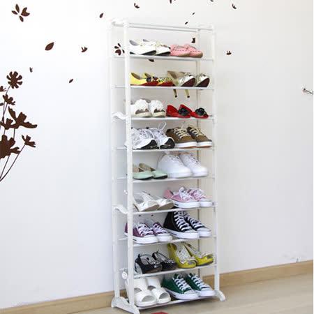《C&B》細雪純白立式十層組合鞋架