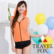 【夏之戀TRAVEL FOX】亮麗連帽長版四件式泳裝(C15725)