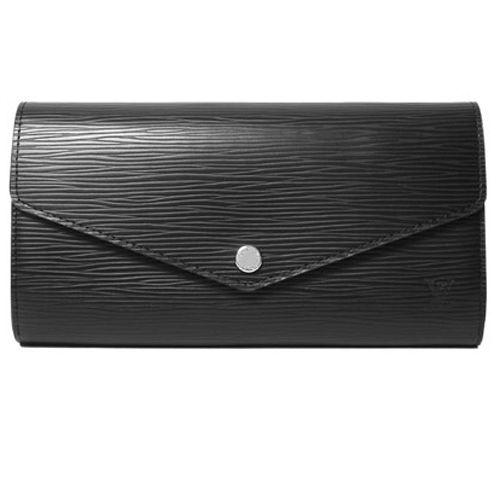 Louis Vuitton LV M60582 SARAH EPI水波紋皮革扣式長夾.黑_