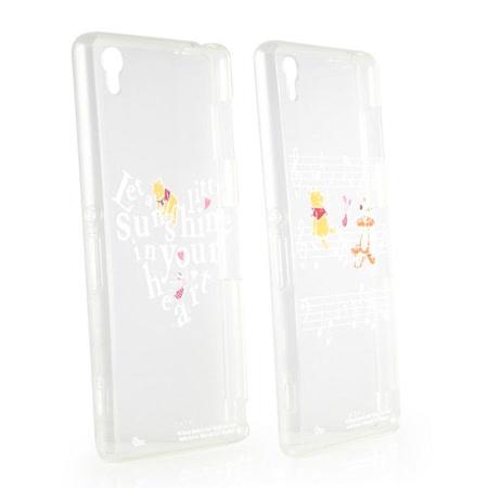 Disney Sony Xperia Z3 彩繪金色/珠光白透明雙料保護殼-維尼系列
