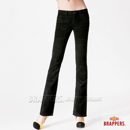 (女)BRAPPERS 女款 女用中低腰絨布小喇叭褲-黑