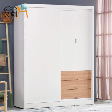 【文創集】伊森思 5尺雙色推門衣櫃