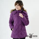 【遊遍天下】極暖JIS90%羽絨菱格中長版防風防潑水外套(深紫1)(品特)