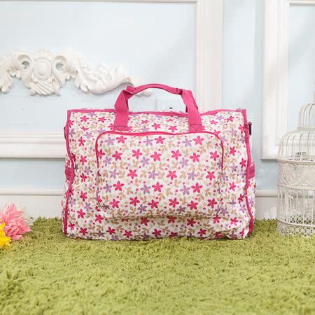 【AOU微笑旅行】輕量旅行袋 折疊行李袋 可掛旅行箱(白底花漾101-002)