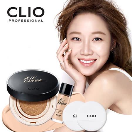 韓國 CLIO KILL COVER 超水感氣墊水凝粉餅組 (粉餅15g+粉底液20g+粉撲X2)