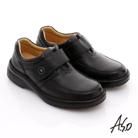 【A.S.O】3E氣墊系列 全真皮寬楦素面魔鬼氈氣墊鞋(黑)
