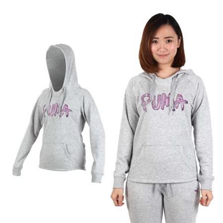 (女) PUMA 連帽長厚T恤-帽T 慢跑 路跑 灰紫