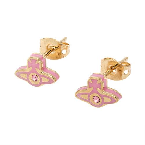 Vivienne Westwood 新款ORB星球晶鑽穿式耳環-粉紅色