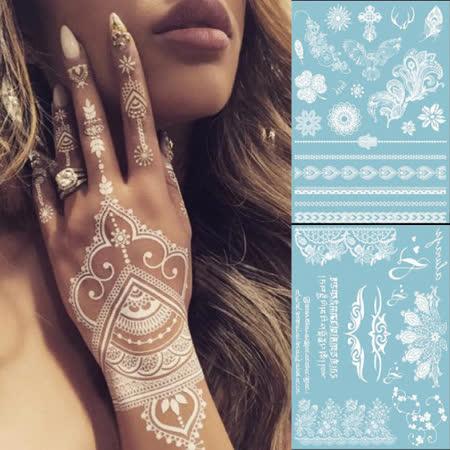 【PS Mall】氣質白色蕾絲紋身貼紙 水刺青貼紙_2組 (J1773)
