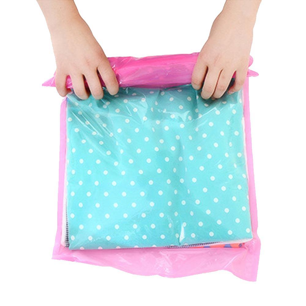 PUSH!旅遊戶外用品 手壓式真空壓縮袋防水衣物收納袋(中號2包4入)S36-1
