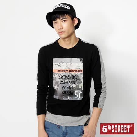 5th STREET 拼色薄長T恤-男-黑色
