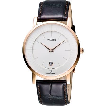 ORIENT 紳士都會薄型錶殼腕錶-銀x玫瑰金框/咖啡/38mm FGW0100CW