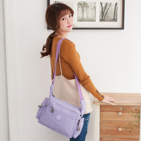 TOPMAST毛線貓 雙側口袋斜背包(粉嫩紫)