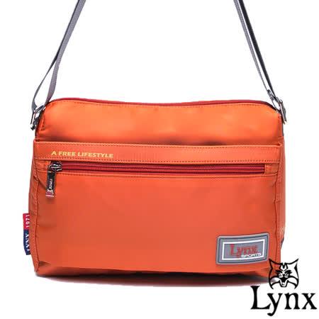 Lynx - 山貓城市悠遊款輕便簡約橫式斜背包-橘紅