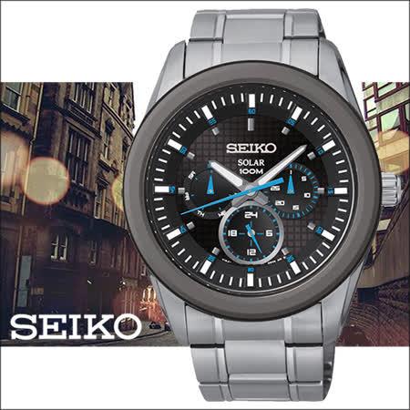 SEIKO Criteria時尚新美學太陽能三眼計時腕錶-黑/43mm-V14J-0CD0B