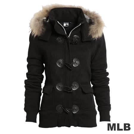 (女)MLB-牛角扣連帽鋪棉保暖外套-黑