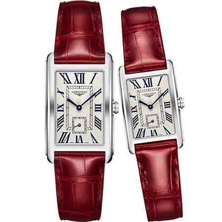 LONGINES DolceVita 獨立小秒針石英對錶-銀x紅/26+21mm L57554715+L52554715
