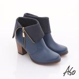 【A.S.O】機能美型 牛皮拉鍊翻摺綁粗跟短靴(藍)