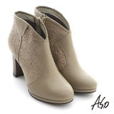 【A.S.O】機能美靴 全真皮壓花奈米粗跟踝靴(深卡其)