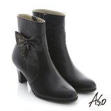 【A.S.O】奈米系列 全真皮蝴蝶結低跟短靴(黑)