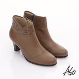 【A.S.O】 奈米系列 全真皮側V雕花奈米短靴(卡其)