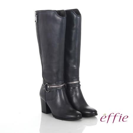 【勸敗】gohappy線上購物【effie】魅力時尚 真皮V型金屬鍊條粗高跟長靴(深藍)好嗎台中 大 遠 白