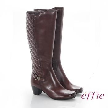 【好物分享】gohappy【effie】魅力時尚 真皮後側拼接菱格中跟長靴(咖啡)去哪買遠東 百貨 電影