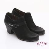 【effie】魅力時尚 全真皮雙色魔鬼氈粗跟踝靴(黑)