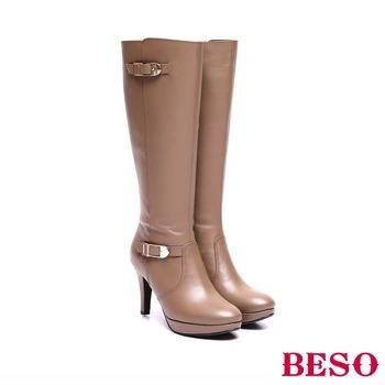【私心大推】gohappy 線上快樂購【BESO】 魅力時尚 全真皮雙扣飾拉鍊高跟長靴(卡其)心得愛 買 網購