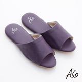 【A.S.O】 品味居家系列 經典LOGO壓紋超軟Q居家拖鞋(活力紫)