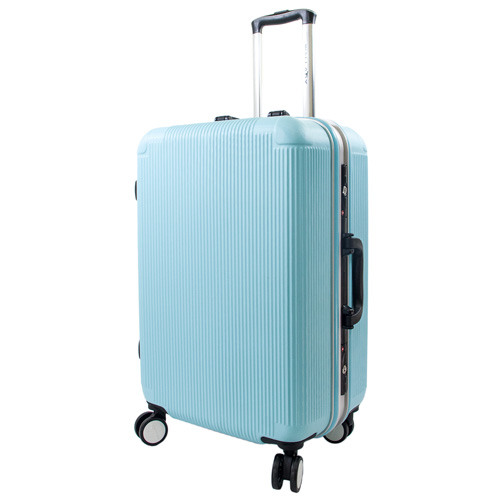 【WALLABY】28吋直條紋ABS鋁框行李箱/高光藍(HTX-1503-28BL)