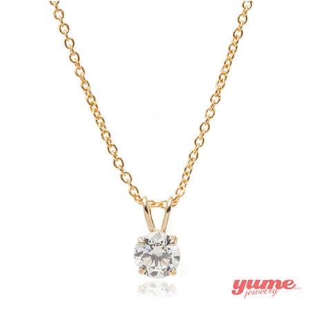 【YUME】K金5mm4爪單鑽項鍊
