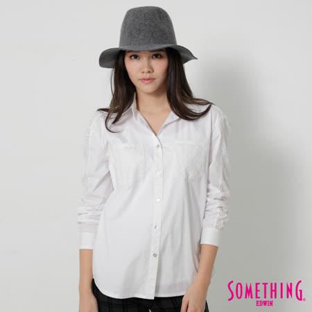 SOMETHING 蕾絲簍空長袖襯衫-女-白色