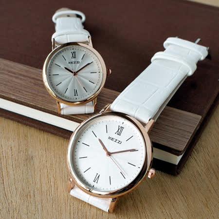 【KEZZI】水波紋羅馬皮質情侶對錶-白色