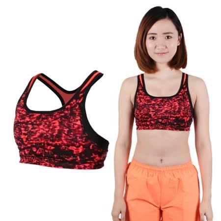 (女) NEWBALANCE 運動內衣 -NB BRA 有氧 瑜珈 背心 迷彩黑紅