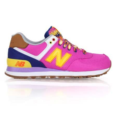 (女) NEWBALANCE 574系列 復古休閒鞋- NB N字鞋 桃紅黃