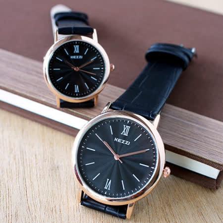【KEZZI】水波紋羅馬皮質情侶對錶-黑色