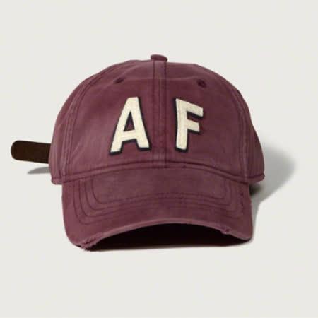 【Abercrombie&Fitch】經典款仿舊貼布棒球帽-酒紅(619389718)