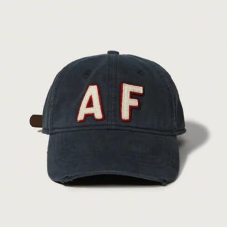 【Abercrombie&Fitch】經典款仿舊貼布棒球帽-深藍(618664722)