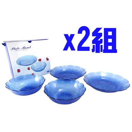 【BBC-glass】玫瑰碗盤組2組入 DS9722-4(寶石藍)