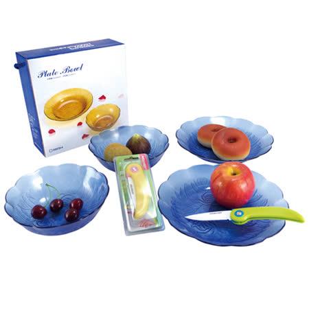 BBC-glass寶石藍玫瑰碗盤組x1(2入7吋+2吋9吋)+AKWATEK陶瓷折疊刀x2
