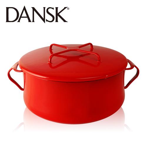 ~丹麥DANSK~琺瑯雙耳燉煮鍋18.5cm^(尊貴紅^)