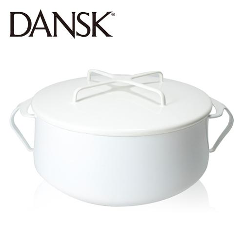 ~丹麥DANSK~琺瑯雙耳燉煮鍋18.5cm^(典雅白^)