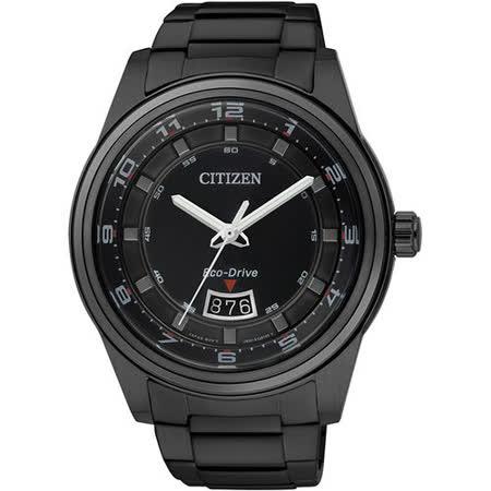 CITIZEN Eco-Drive 跳躍年代時尚光動能腕錶(IP黑/43mm) AW1284-51E