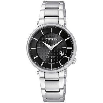 CITIZEN Eco-Drive 柔情時刻 光動能時尚女錶(黑-EW1790-57E)